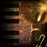 Abstract grunge background with trumpet Stock Photos