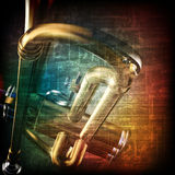 Abstract grunge background with trumpet Stock Photo