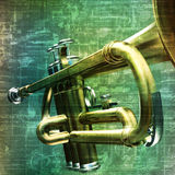 Abstract grunge background with trumpet Royalty Free Stock Photos