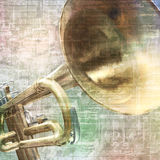 Abstract grunge background with trumpet Stock Photography