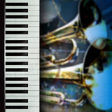 Abstract grunge background with trumpets and piano Royalty Free Stock Photos
