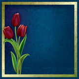 Abstract grunge background with tulips Stock Photography