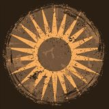 Abstract grunge background with sun, vector illustration. stock photography