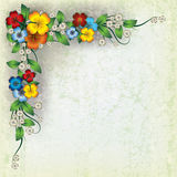 Abstract Grunge Background With Spring Flowers Stock Image