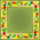 Abstract Grunge Background With Spring Flowers Royalty Free Stock Images