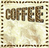 Abstract grunge background with the word coffee and frame of coffee beans Stock Image