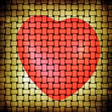 Abstract grunge beige yellow matting and red heart picture. Red heart picture on abstract grunge beige yellow matting background Royalty Free Stock Photo