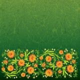 Abstract grunge bloemenornament met bloemen Royalty-vrije Illustratie