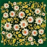 Abstract grunge bloemenornament met witte bloemen Stock Illustratie