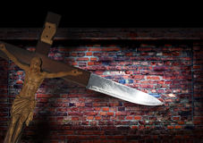 Abstract grunge brick wall and cross knife Stock Image