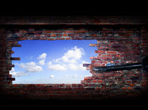 Abstract Grunge Brick Wall, Sky And Hammer Stock Images