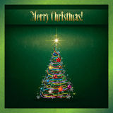 Abstract grunge Christmas greeting with tree Stock Photography