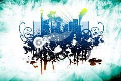 Abstract grunge city. The art of grunge style Royalty Free Stock Images