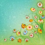 Abstract grunge color floral background Stock Images