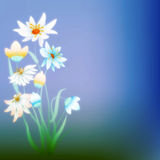 Abstract grunge composition with flowers on blue Stock Photo