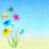 Abstract grunge composition with flowers on blue. Background royalty free illustration