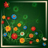 Abstract grunge floral background with flowers Royalty Free Stock Images