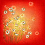 Abstract grunge floral background with flowers Royalty Free Stock Photo
