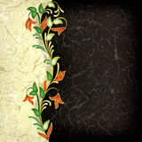 Abstract grunge floral ornament. On black background vector illustration