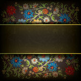 Abstract grunge floral ornament. With dark ribbon Royalty Free Stock Photos