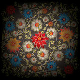 Abstract grunge floral ornament. With flowers on black background Royalty Free Stock Photo