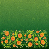 Abstract grunge floral ornament with flowers. Abstract grunge floral ornament with orange flowers on green Stock Images