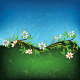 Abstract grunge floral ornament with white flowers. On blue and green stock illustration