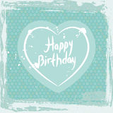 Abstract grunge frame. happy birthday, heart on blue background template. Vector Stock Photography