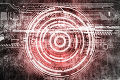 Abstract grunge futuristic cyber technology background. Sci-fi circuit design. Drawing on old grungy surface stock illustration