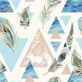 Abstract grunge geometric seamless pattern. Royalty Free Stock Photo