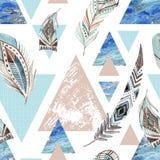 Abstract grunge geometrisch naadloos patroon stock illustratie