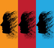 Abstract grunge girl profile Royalty Free Stock Images