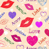 Abstract grunge hearts and lips Royalty Free Stock Photos