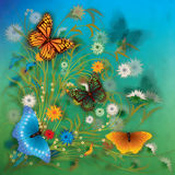 Abstract grunge illustration with butterfly and fl Stock Images
