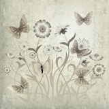 Abstract grunge illustration with flowers Royalty Free Stock Photo