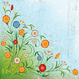 Abstract grunge illustration with flowers. On blue green background royalty free illustration