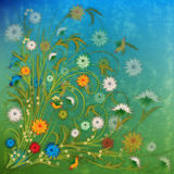 Abstract grunge illustration with flowers. On blue green background stock illustration