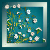Abstract grunge illustration with flowers. On blue vintage background Royalty Free Stock Images