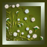 Abstract grunge illustration with flowers. On green vintage background stock illustration