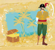 Abstract grunge illustration with pirate and chest full of gold Stock Image