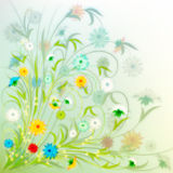 Abstract grunge illustration with spring flowers Stock Photo