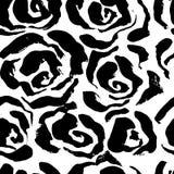 Abstract grunge ink seamless flower background. Roses black brush pattern. Vector illustration. Abstract grunge ink seamless flower background. Roses black vector illustration