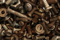 Old rusty screw. Building waste. Royalty Free Stock Image