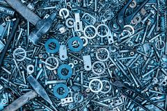 Background from parts and tools Royalty Free Stock Photo