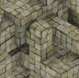 Abstract grunge mosaic tile cube backdrop in gray beige Royalty Free Stock Photography