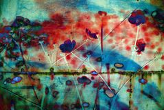 Abstract grunge multicolor background. Abstract grunge excellent background with flowers stock photo