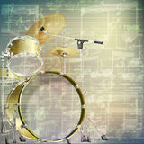 Abstract grunge music background with drum kit. Abstract grunge green cracked music symbols vintage background with drum kit stock illustration