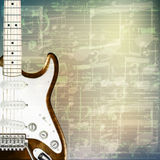 Abstract grunge music background with electric guitar. Abstract grunge green cracked music symbols vintage background with electric guitar Royalty Free Stock Photo