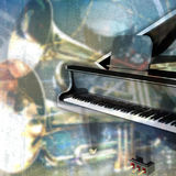 Abstract grunge music background with grand piano Royalty Free Stock Photography