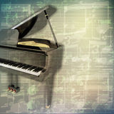Abstract grunge music background with grand piano Stock Images